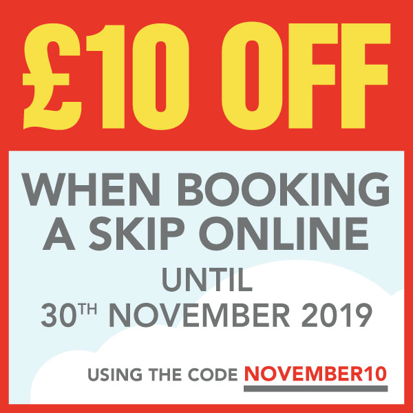£10.00 off when booking a skip